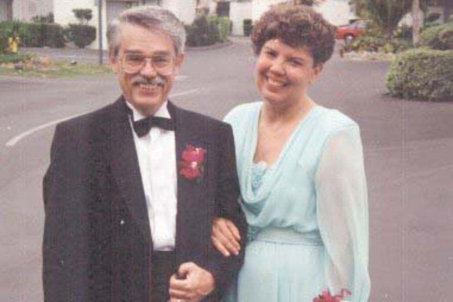 Ed & Judy, all ready for Liz & Kevin's wedding, in San Diego, 1993